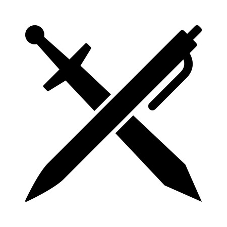 metonymy: The pen is mightier than the sword flat icon for apps and websites Illustration