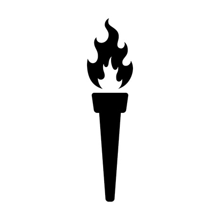 lit: A vintage torch lit on fire flat icon for games and websites