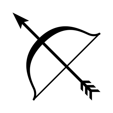 bowstring: Bow and arrow archery line art icon for games and websites Illustration