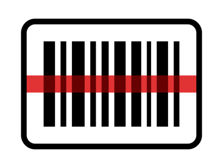 stockpile: Red laser scanning inventory barcode  bar code line art icon for apps and websites Illustration