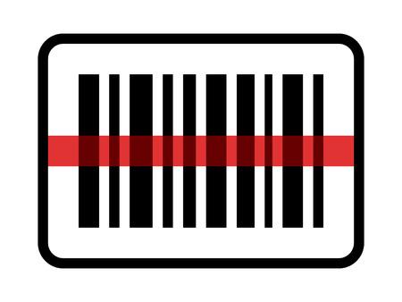 stockpile: Red laser scanning inventory barcode  bar code line art icon for apps and websites Illustration