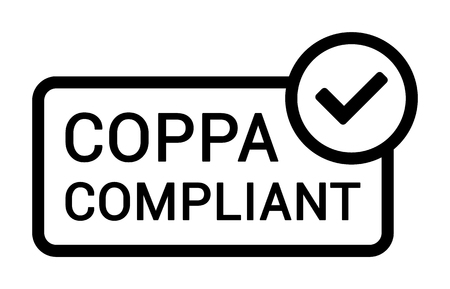 COPPA compliant - Childrens Online Privacy Protection Act line art badge label icon