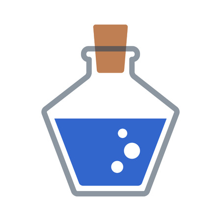 Blue magic or mana potion decanter bottle flat icon for games and websites Vectores