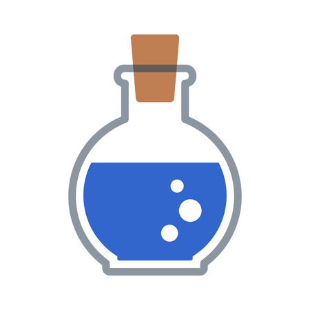 Blue magic or mana potion bottle flat icon for games and websites Vectores