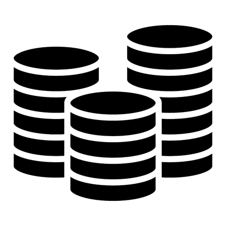 Stack of coins or casino chips flat icon for games and apps