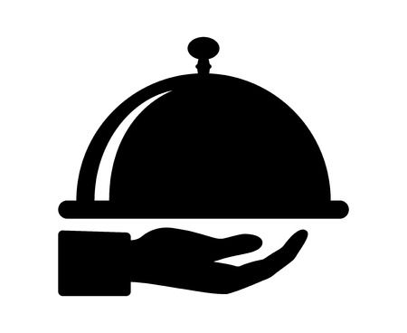 servings: Waiter hand holding cloche serving plate flat icon for food apps and websites