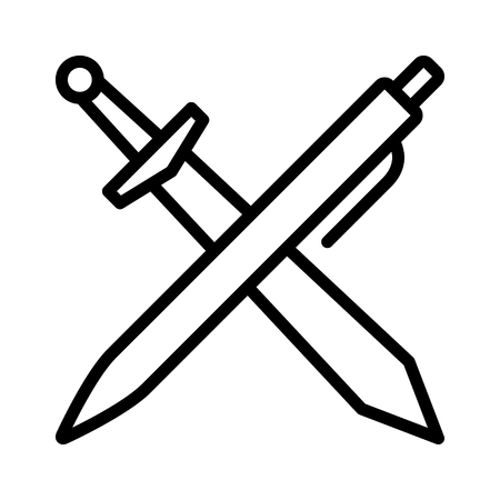 brawn: The pen is mightier than the sword line art icon for apps and websites Illustration