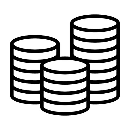 Stack of coins or casino chips line art icon for games and apps