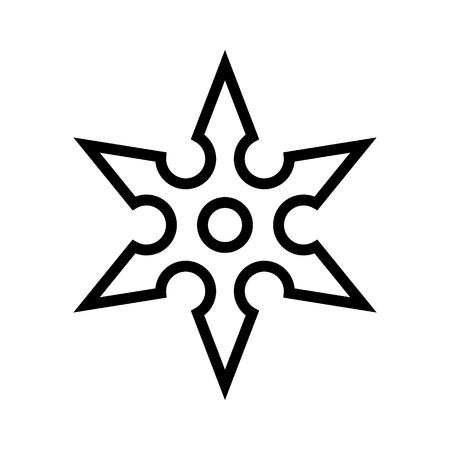 shaken: Ninja shuriken throwing star line art icon for games and websites Illustration