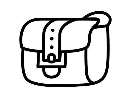 satchel: Satchel inventory messenger bag line art icon for apps and websites Illustration