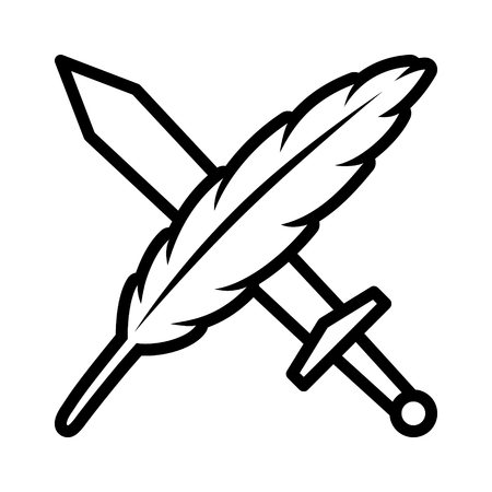 feather quill: The pen  feather quill is mightier than the sword line art icon for apps and websites