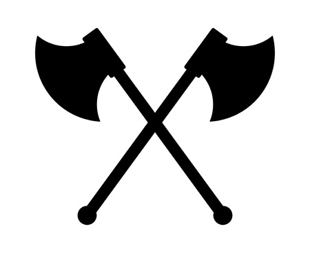 strife: Crossed battleaxe or battle axe flat icon for games and websites Illustration