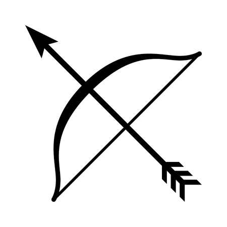 Long bow and arrow archery line art icon for games and websites Illustration