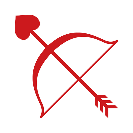 bowstring: Red Cupid bow and heart arrow flat icon for apps and websites
