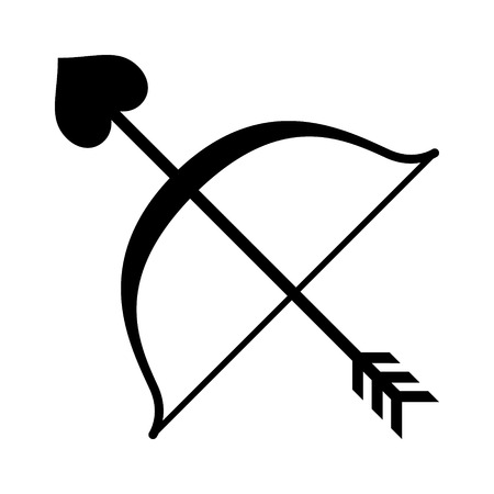 bowstring: Cupid bow and heart arrow flat icon for apps and websites