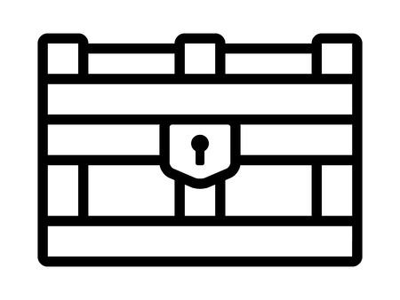 storage box: Treasure chest storage box line art icon for apps and websites