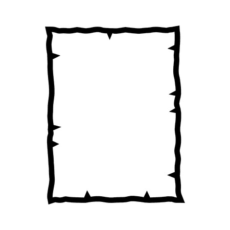 western border: Old parchment damaged paper line art icon for games and websites