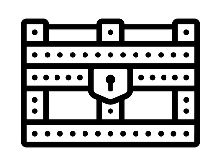 storage box: Reinforced treasure chest storage box line art icon for apps and websites Illustration