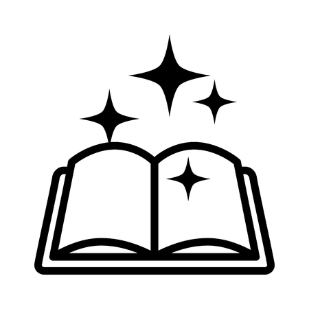 mana: Magic spell book, tome or manual line art icon for games and websites Illustration
