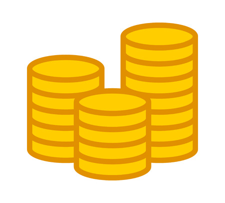 Stack of gold coins flat color icon for apps and websites Illustration