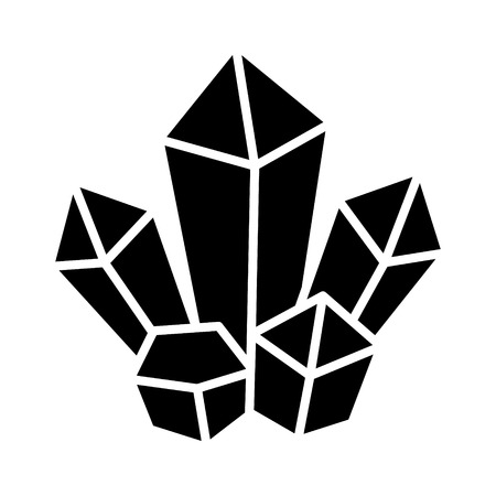 Magic crystal cluster flat icon for games and websites
