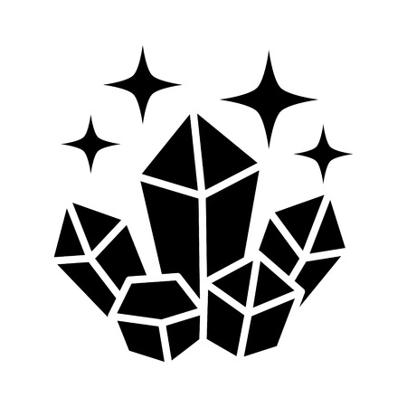 wicca: Magic crystals with glowing shine flat icon for games and websites Illustration