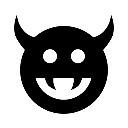 evildoer: Monster, demon or enemy flat icon for games and websites Illustration