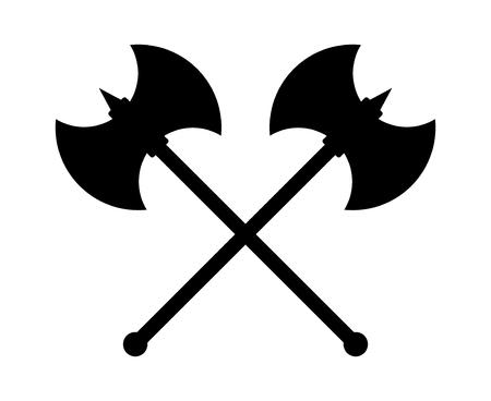 ゲームやウェブサイトのスパイク フラット アイコンでの交差バトルアックスまたは戦闘斧  イラスト・ベクター素材