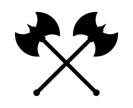 Crossed battleaxe or battle axe with spike flat icon for games and websites Illustration