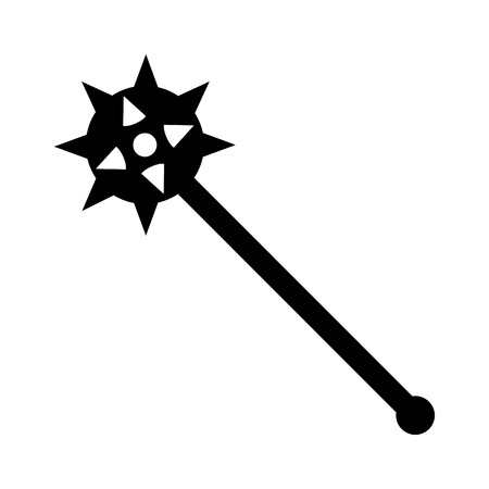 Spiked mace weapon flat icon for games and websites Illustration