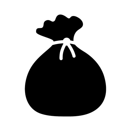 garbage bag: Tied pouch bag or sack flat icon for apps and websites