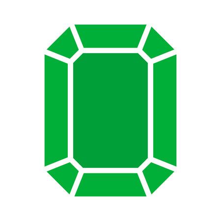 Green rectangular emerald gem flat icon for apps and websites Illustration