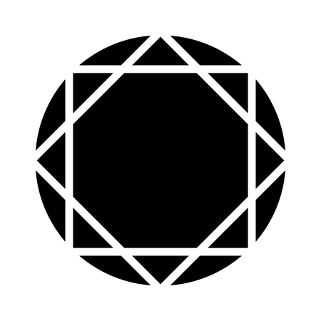 Round ruby or diamond gem flat icon for apps and websites