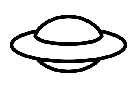 alien clipart: UFO alien saucer - unidentified flying object line art icon for apps and websites Illustration