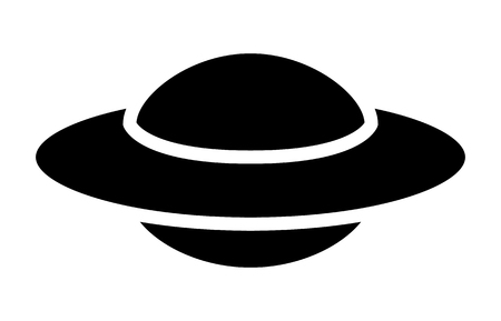flying object: UFO alien saucer - unidentified flying object flat icon for apps and websites