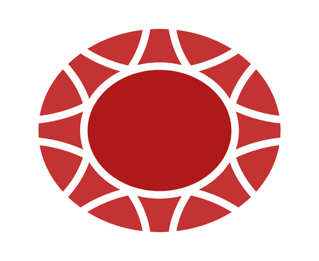 hardness: Red oval ruby gem flat icon for apps and websites