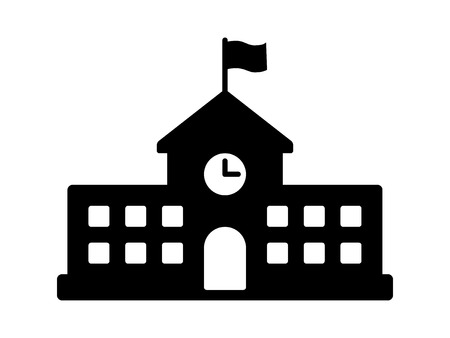 academia: School building with clock and flag flat icon for apps and websites Illustration