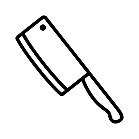meat knife: Butcher  butchers cleaver knife line art icon for apps and websites Illustration