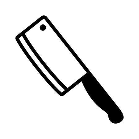 the cleaver: Butcher  butchers cleaver knife flat icon for apps and websites Illustration