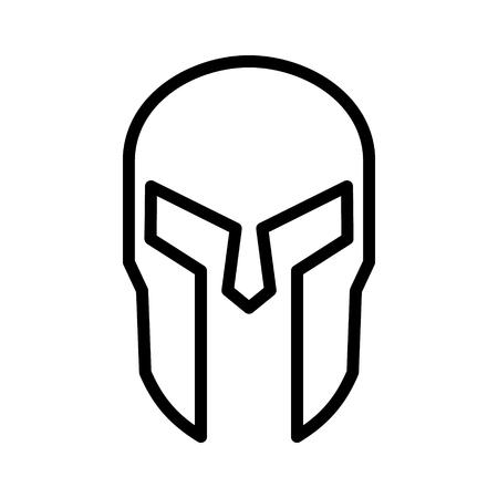 gladiatorial: Spartan Greek helmet armor line art icon for apps and websites