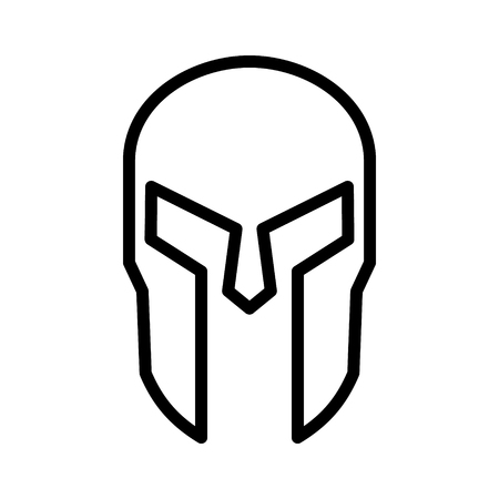 Spartan Greek helmet armor line art icon for apps and websites