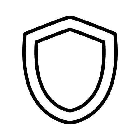 protection line: Medieval shield of protection line art icon for apps and games