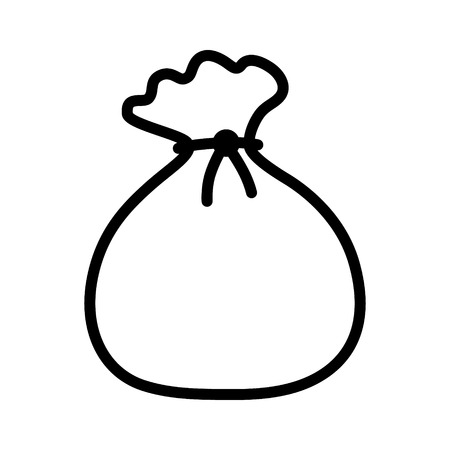 pouch: Tied pouch bag or sack line art icon for apps and websites