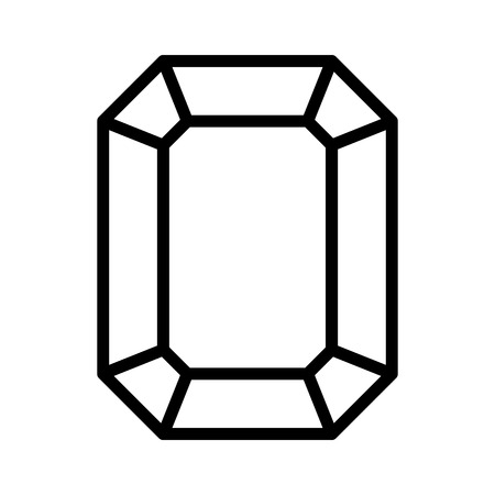 gems: Rectangular emerald gem line art icon for apps and websites