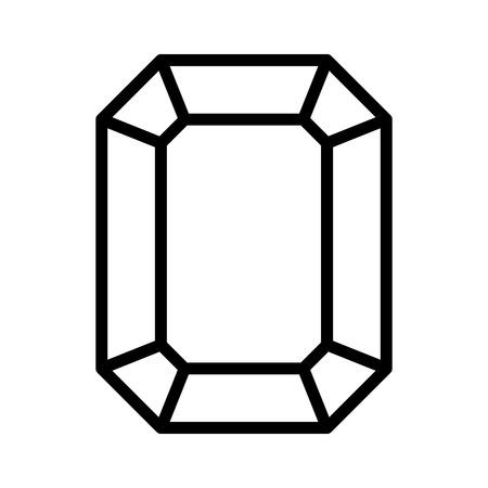 Rectangular emerald gem line art icon for apps and websites