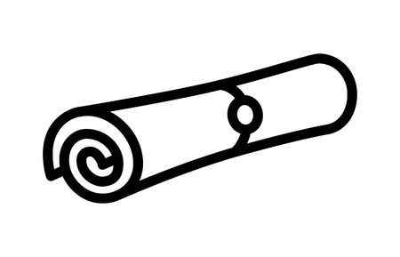 rolled up: Magic spell scroll or rolled up document message line art icon for games and websites Illustration