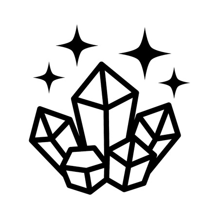 wiccan: Magic crystals with glowing shine line art icon for games and websites