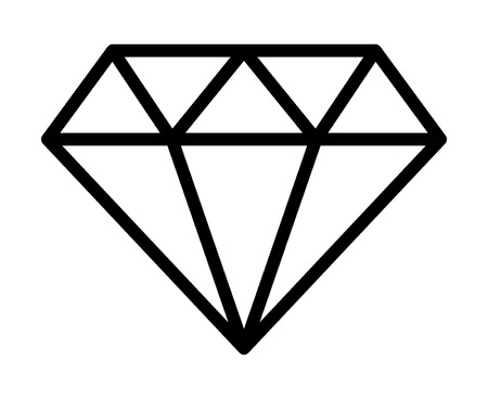 gemstone: Diamond jewel gemstone line art icon for apps and websites