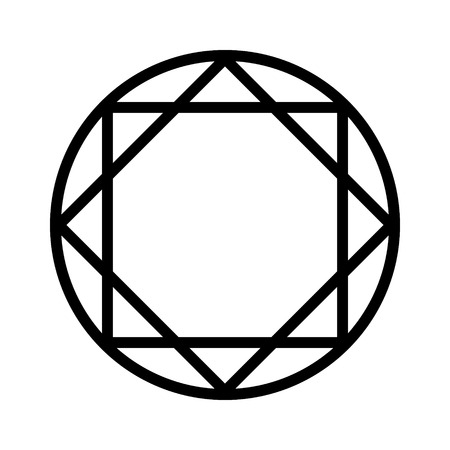 Round ruby or diamond gem line art icon for apps and websites