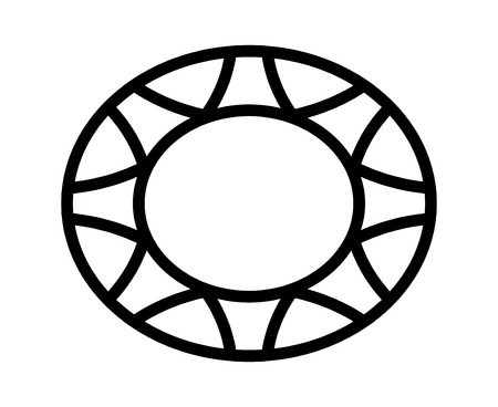Oval sapphire gem line art icon for apps and websites
